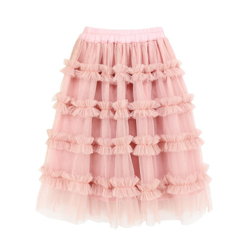 Vêtements pour enfants   Jupe longue en mousseline de soie, vêtements noirs roses à volants, jupe gâteau, pour bébés filles 0-14ans
