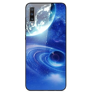 For Samsung Galaxy A70 Phone Case Tempered Glass Case Back Cover Star Sky Pattern