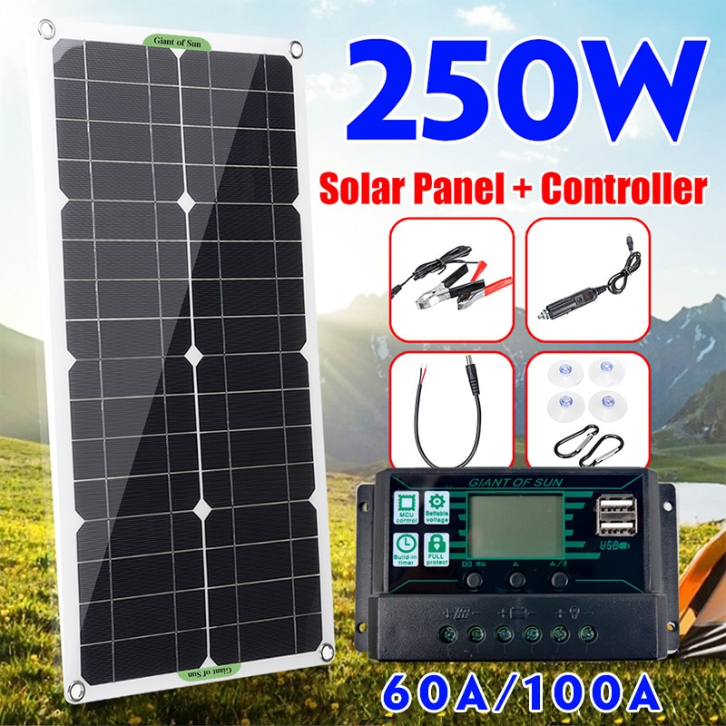250W Solar Panel Kit Complete Dual 12/5V DC USB With 60A/100A Solar Controller Solar Cells for Car Y