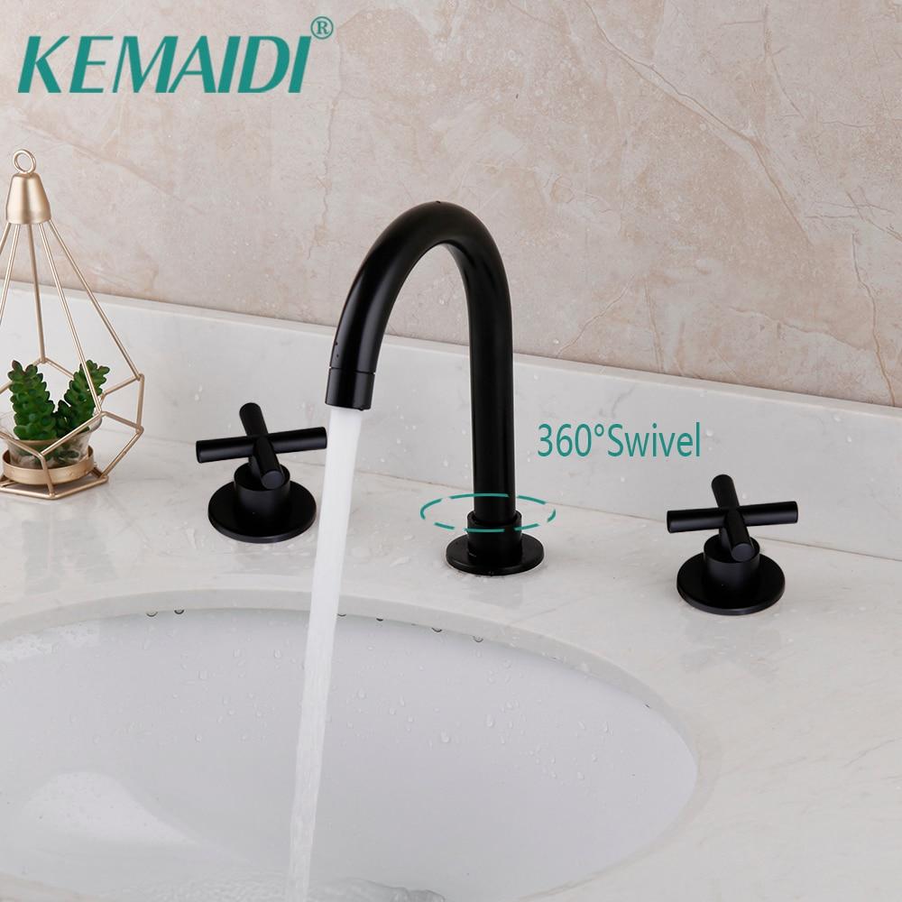 Juego de 3 uds de grifos de bañera de cuarto de baño negro mate de KEMAIDI, grifo mezclador de agua para lavabo, mezclador frío caliente montado en cubierta