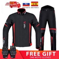 Мотоциклетная куртка, комплект со штанами, защита от ветра и влаги, для езды на мотоцикле, на 4 сезона