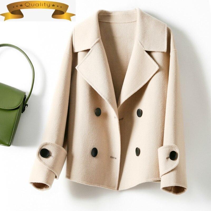 Chaqueta de lana para mujer, abrigo de lana de doble cara, Vintage,...