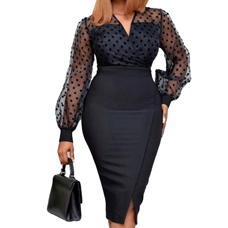 فستان كوكتيل نسائي ، حجم كبير ، تأثير وهمي في الخلف ، قابل للتمدد ، ياقة على شكل V ، أكمام طويلة ، فستان سهرة ، شق جانبي صغير
