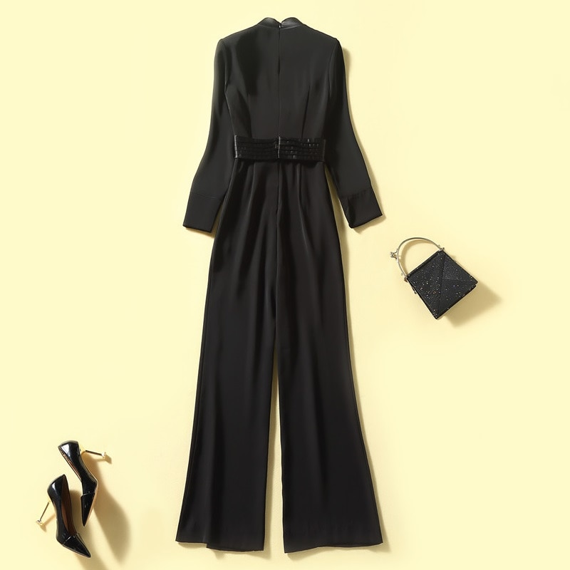 Top Quality New Fashion Jumpsuits 2021 Autumn Winter Runway Women V-Neck Chest Pocket Deco Long Sleeve Full Length Jumpsuit XL enlarge