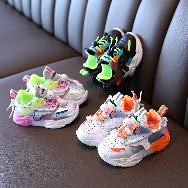 Baby Fashion Sport Shoes for Girls Boys Colorful Sneakers Baby Soft Bottom Breathable Outdoor Kids Shoes for 1-6 Years