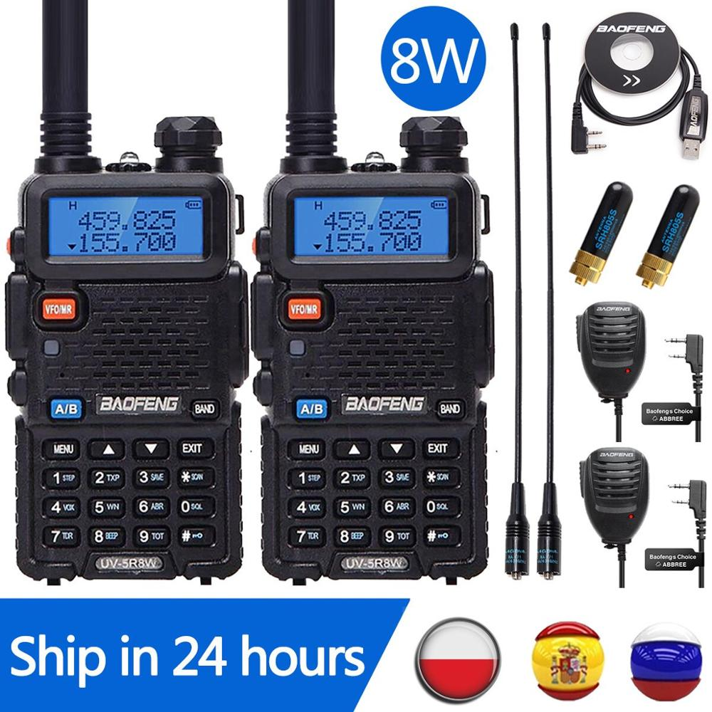 2PCS Baofeng UV-5R 8W Walkie Talkie UV5R CB Radio Station 10KM VHF UHF Dual Band UV 5R Two Way Radio for Hunting Ham Radios