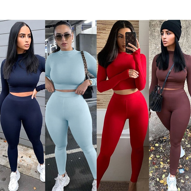 Winter Fitness 2 Two Piece Set Women Lounge wear Long Sleeve Crop Top + Leggings Bodycon Tracksuit Women Outfits Jogging Femme