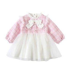 Infant Baby Girl Dress Cute Bow Baptism Dresses Girls Birthday Party Mesh Dresses QZ137