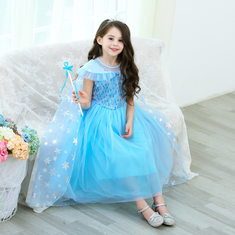 2021 costume Frozen 2 cosplay Elsa Anna Princess Dress kids Girls Elsa Princess Dress Halloween Costumes Birthday Party Costume