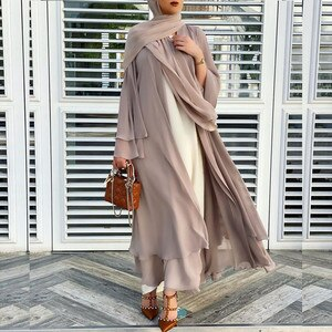 Solid Open Abaya Kimono Dubai Turkey Kaftan Muslim Cardigan Abayas Dresses For Women Casual Robe Femme Caftan Islam Clothing