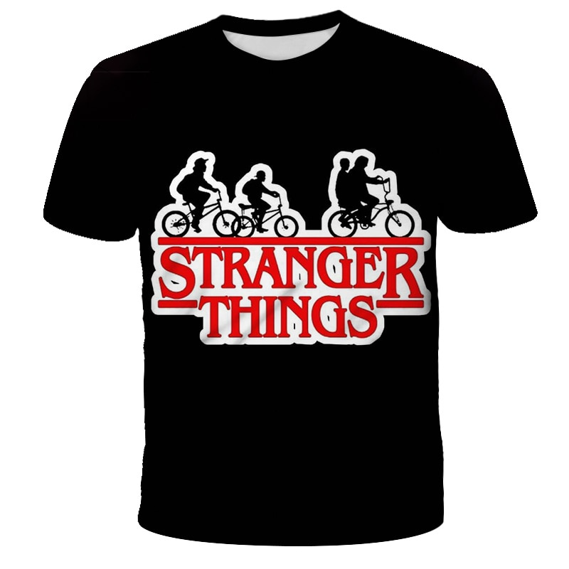 AliExpress - 2021 New Funny 3D Black Kids Costume Stranger Things Season 3 T Shirt Girl Graphic T Shirt Kids Top Costume