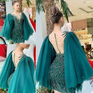 Glitter Short Evening Dresses Crystal Beads Appliqued Lace Luxury Prom Pageant Gown Robe De Mariée Long Sleeve Customize