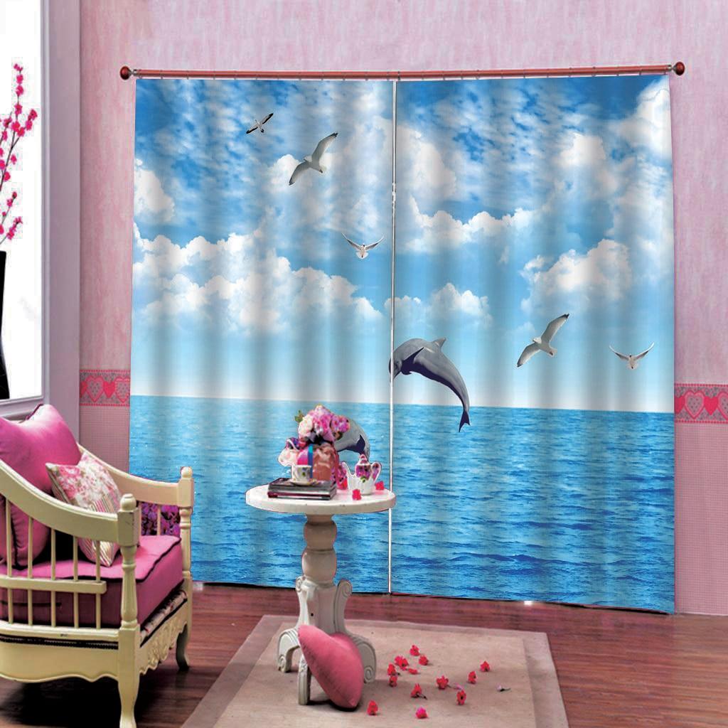 Polyester Blue sky Jumping Dolphin Shower Curtains  For Bathroom Decor Modern Dolphin Haiou Blackout curtains
