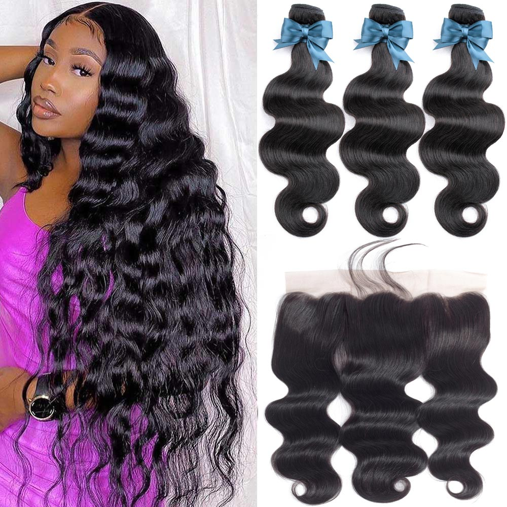 Brazilian Hair Weave Bundles With Frontal 36