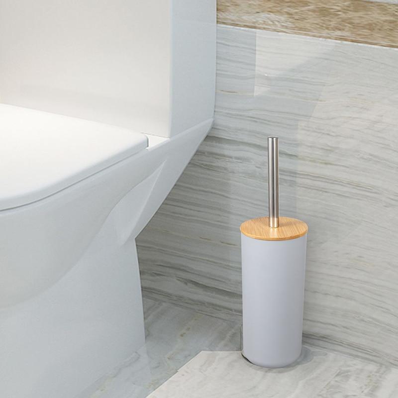 Bathroom Accessories Set 6 Pieces Bamboo Room Set Toothbrush Holder Soap Dispenser Toilet Brush Trash Can Bathroom Essential Set enlarge