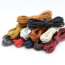 1 Pair Solid Color Waxed Cotton Round Shoelaces Fashion Classic Unisex Waterproof Leather Shoe Laces
