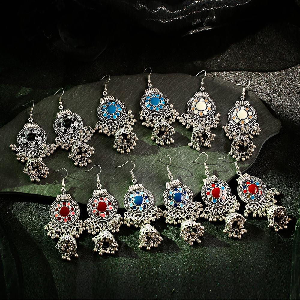 Joyería gitana TopHanqi, Jhumka étnica Retro de la India, pequeñas campanas goteo, pendientes de borlas de gota de aceite para mujeres, regalo de colgante bohemio