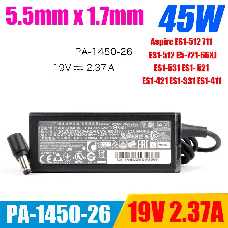 Original para ACER 19V 2.37A 45W 5,5*1,7mm portátil cargador/adaptador de CA ES1-512 711 PA-1450-26 ES1-512 ES1-531 ES1-411 ES1-331 721