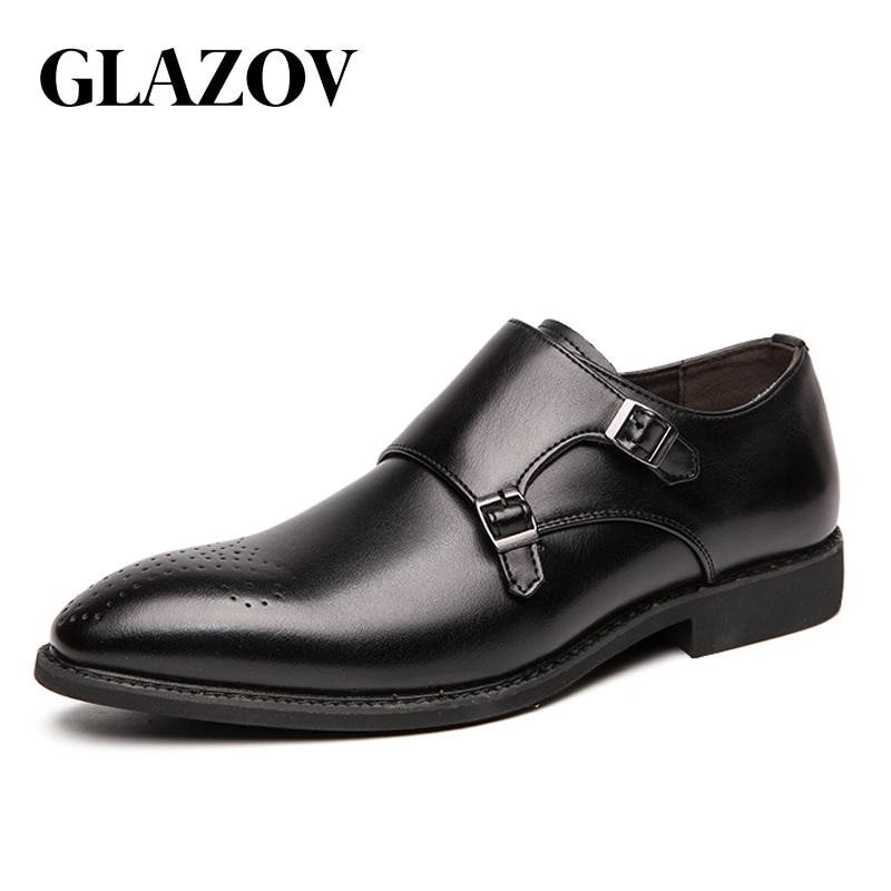 New GLAZOV Men Leather Shoes Casual Top Quality Oxfords Men Genuine Leather Dress Shoes Business Formal Shoe Plus Size Wedding