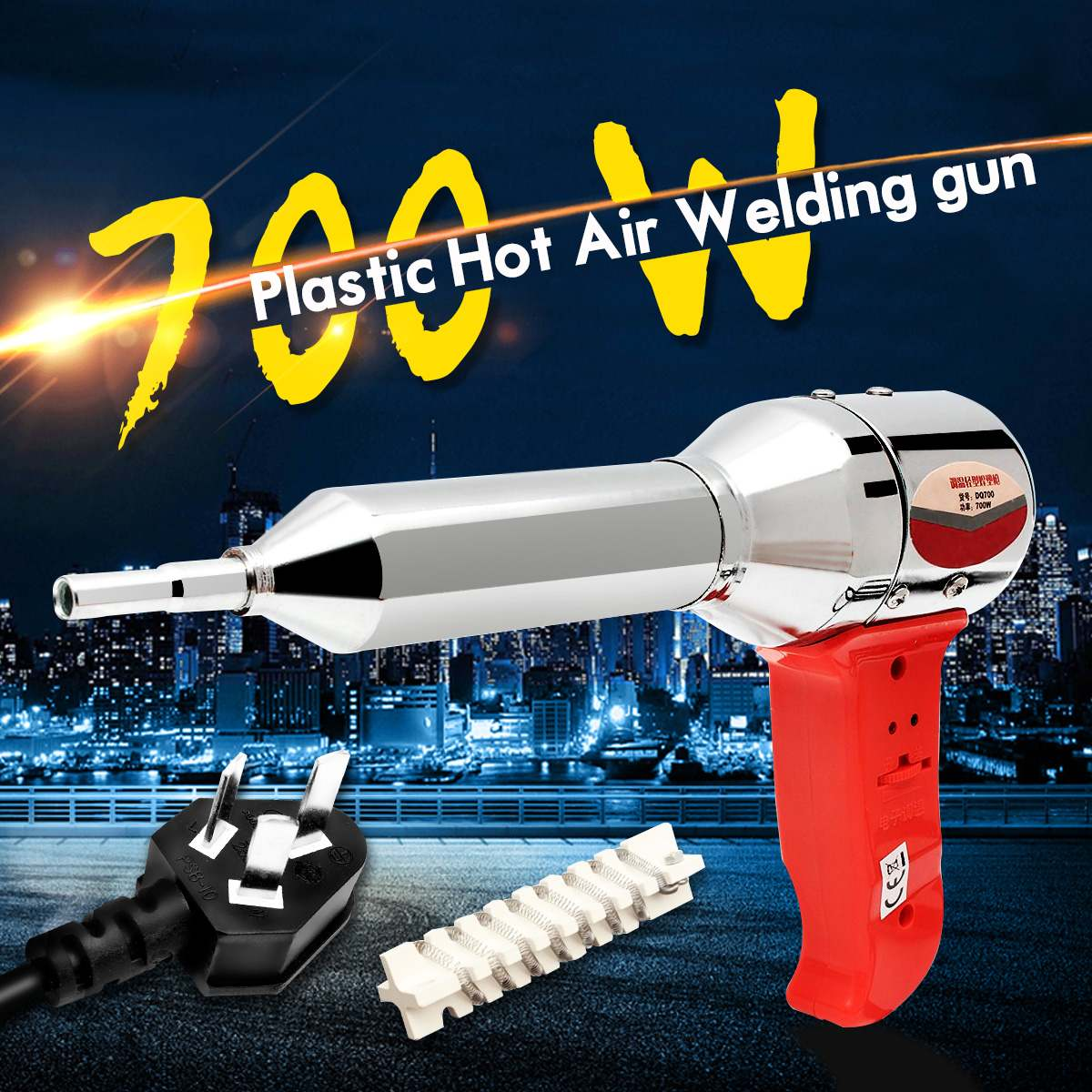 Pistola de soldar caliente portátil de 700W AC 220-240V pistola de soldar de aire caliente eléctrica herramienta de soldadura de calor rápido 100-450 grados + calentador de cerámica