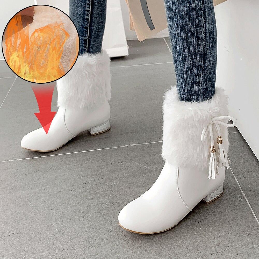 Plus Größe 34-43 Winter Faux Pelz Mode Keile Heels Frauen Schuhe Frau Stiefel Niedrigen absätzen Warme Schnee luxus Femme Damen Boot Weiß