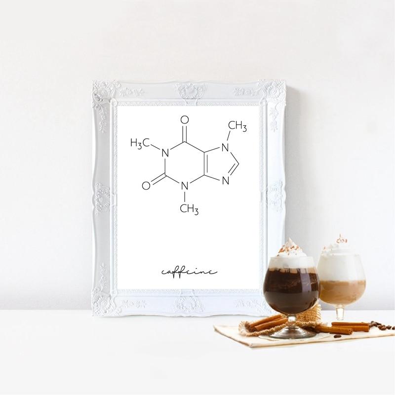 Cuadro sobre lienzo para pared Con molécula de cafeína, póster químico de café, impresión de carteles de ciencia minimalista, imagen de decoración de cafetería