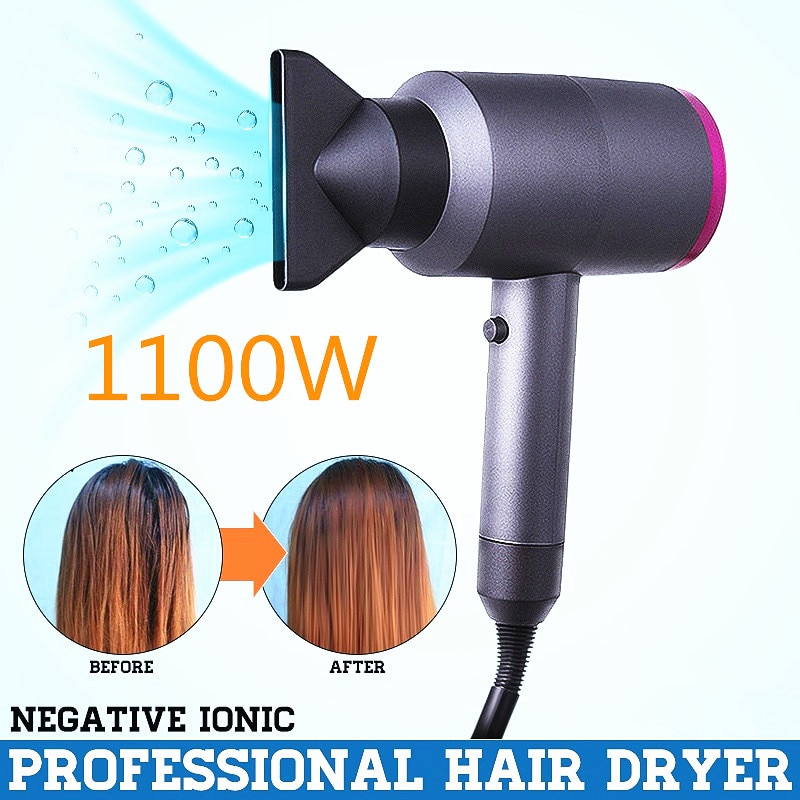 Negative Ion Hair Dryer Professional Salon Ionic Blow Dryer with Diffuser & Concentrator Ceramic Powerful Fast Drying Hairdryers