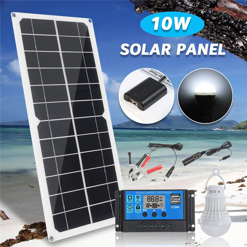 5in1 10W 12V 5V USB Solar Panel Charger Monocrystalline Flexible Cell Generator Lighting System W/ 10A Controller 3W Light Bulb