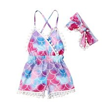 Kids Baby Girl Summer Clothes Sleeveless Straps Rompers Jumpsuit Outfit Floral V neck Tassel Holiday