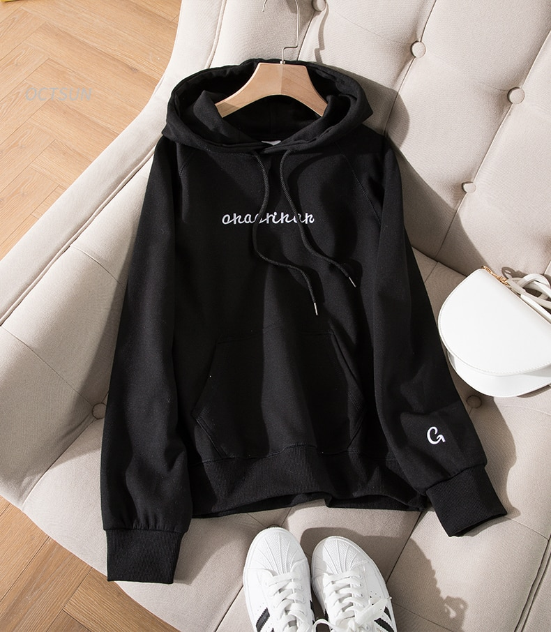 Asian S-2xl Womens Sweatshirts Spring Autumn Female Hoodies Long Sleeve Straight Pullovers Comfortable Ladies Top Clothes Hy55