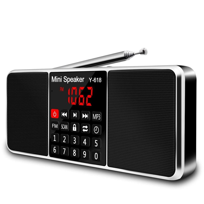 Multifunction Digital Fm Radio Media Speaker Mp3 Music Player Support Tf Card Usb Drive With Led Scr
