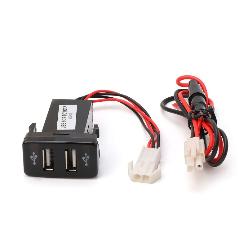 car dual usb charger audio port interface led light for toyota prado 120 series toyota hilux vigo 12V 4.2A Dual 2 Port USB Car Charger Socket Adapter w/ LED Light For Toyota VIGO