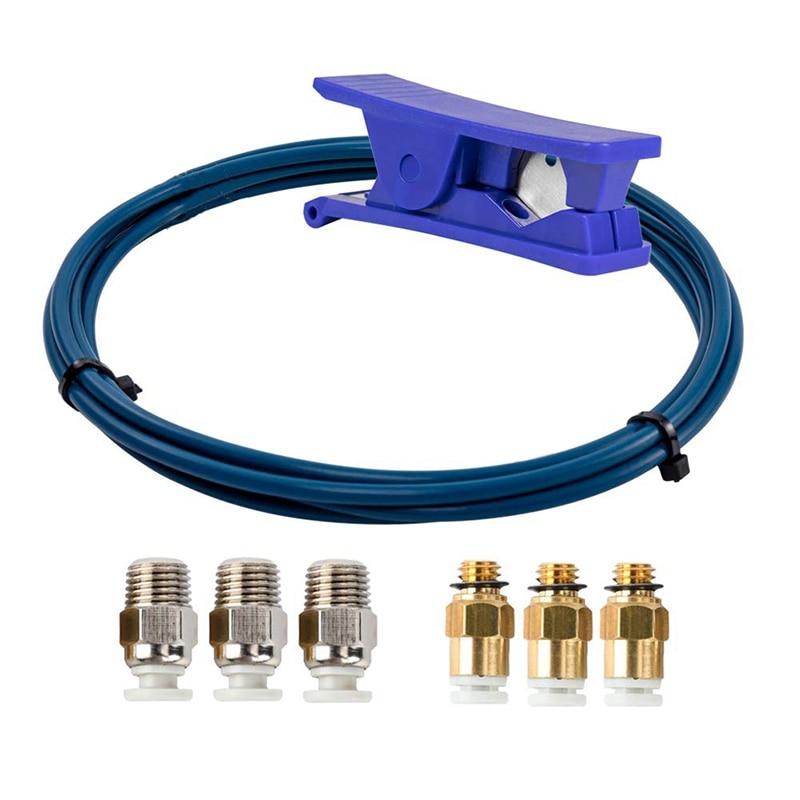 A tubulação de capricorn ptfe bowden xs series 2m e cortador do tubo para o filamento da impressora 3d 1.75mm com encaixe pneumático Peças e acessórios em 3D    -