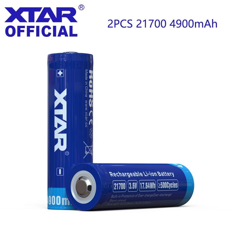 Перезаряжаемая литий-ионная аккумуляторная батарея XTAR 21700, 4900 мАч, 3,6 В, защищенная батарея 21700