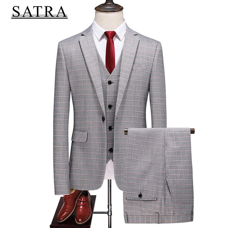 SATRA 2021 وصول جديد جودة عالية ثلاث قطع بدلة عمل تناسب الذكور ، بوتيك الموضة للرجال سليم العريس أفضل بدلة زفاف