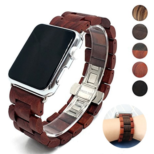 Watchband Wooden Strap for Apple Watch Band 44mm 40mm 38mm 42mm  Bracelet for Apple Watch Serie 6 5