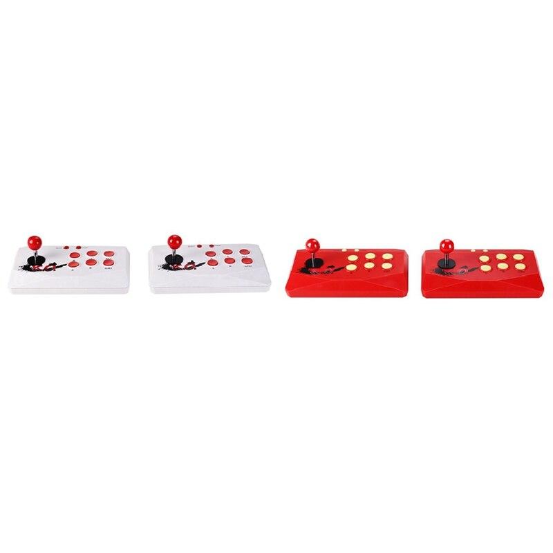 2 مجموعة مع 2 عصا التحكم أركيد وحدات التحكم بالألعاب ، المدمج في 1788 ألعاب هدمي إخراج صغير القتال ممر وحدة التحكم هد ، الأبيض والأحمر