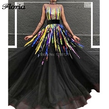 Ball Gown Muslim Evening Dresses Latest Design Couture Dubai African Sequins Prom Dress 2019 Vestido