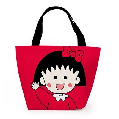 Chi-bi maruko vermelho moda personalizado almoço sacos dos desenhos animados saco de armazenamento quente portátil meninas unisex