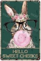 Citation drole de salle de bain en metal  signe en etain  decor mural Vintage Hello Sweet Cheeks lapin avec fleurs  signe en etain