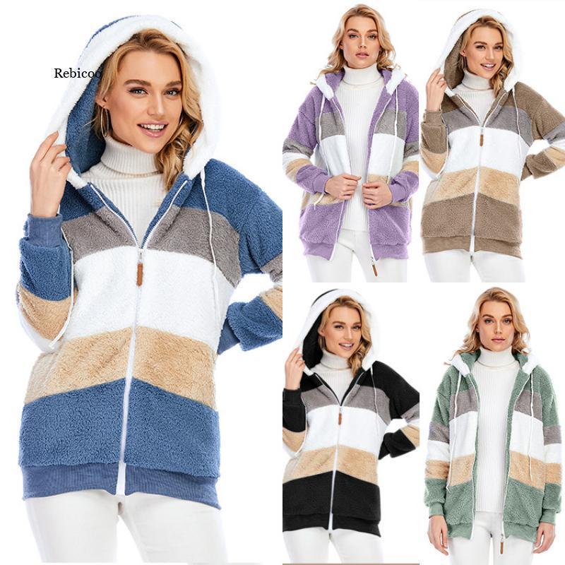 Фото - Winter Hooded Fuzzy Coat Women 2020 Loose Korean Plus Size 5Xl Jacket Woman Patchwork Zipper Warm Jackets Clothes fuzzy hooded jacket