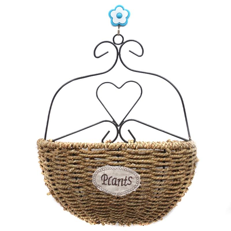 Flower Basket Rattan Weave Wall Hanging Vase Garden Indoor Home Decor TB Sale