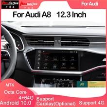 Hualingan Pour Audi A8 309 12.3 pouces (2018...) поддержки carplay Android Машины навигации GPS HD экран многофункционный