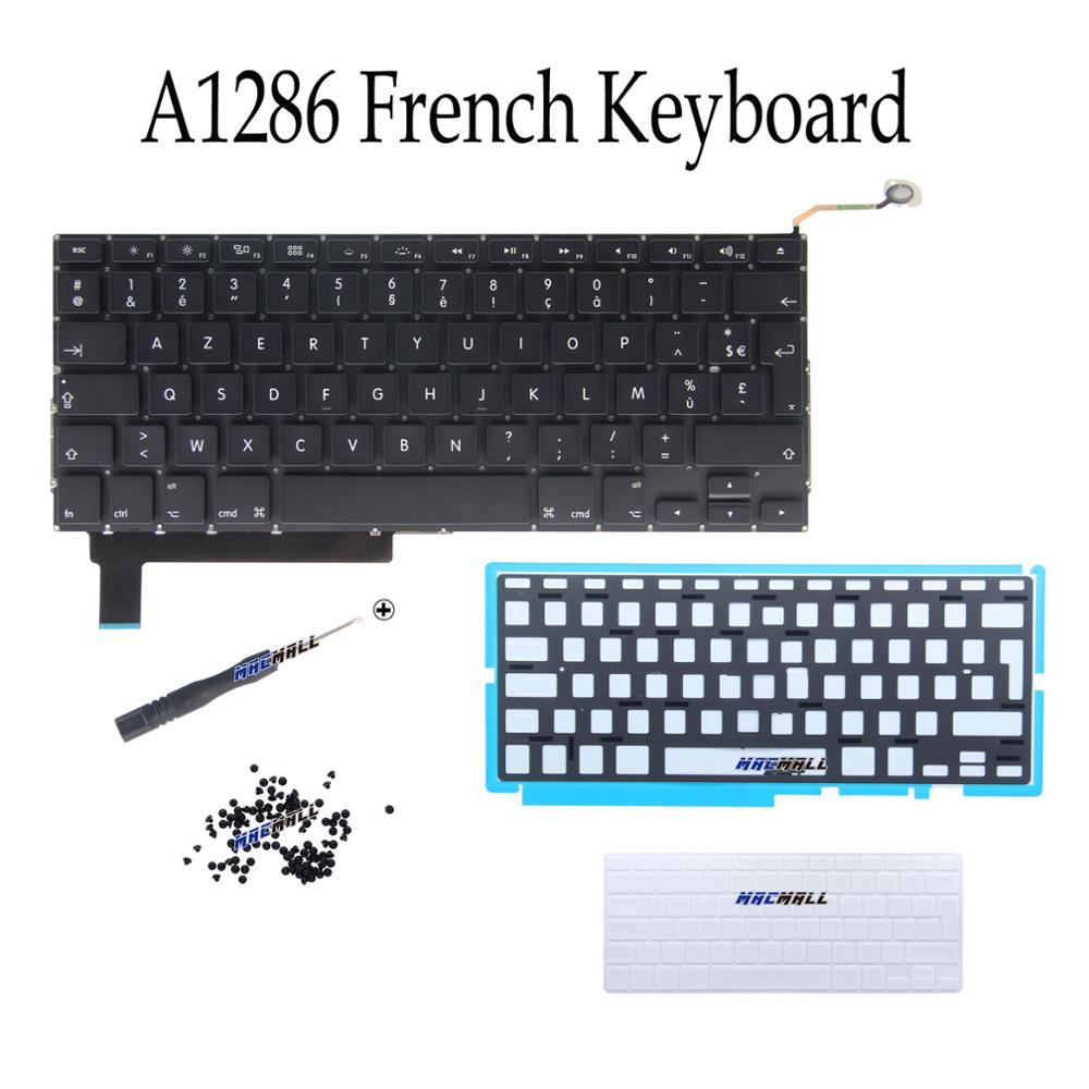 "Novo para macbook pro 15 ""unibody a1286 mb985 mb986 mc371 mc372 fr teclado francês + backlight + capa de teclado + parafusos 2009-2012"