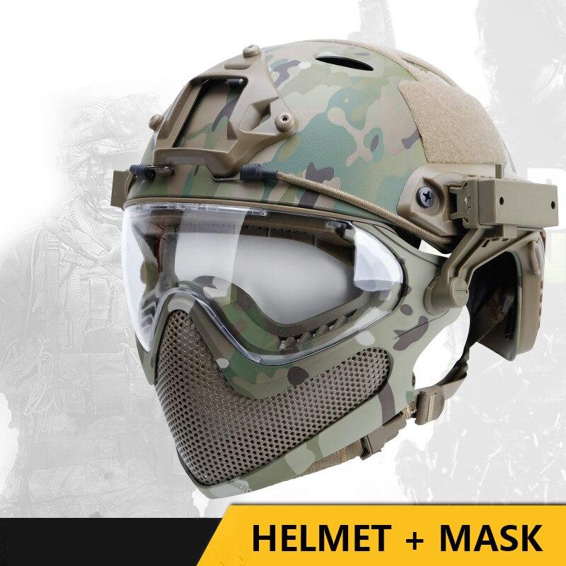 خوذة تكتيكية عسكرية كاملة الوجه خوذة صيد Airsoft الألوان مع قناع نظّارة واقية خوذة Cs للقتال