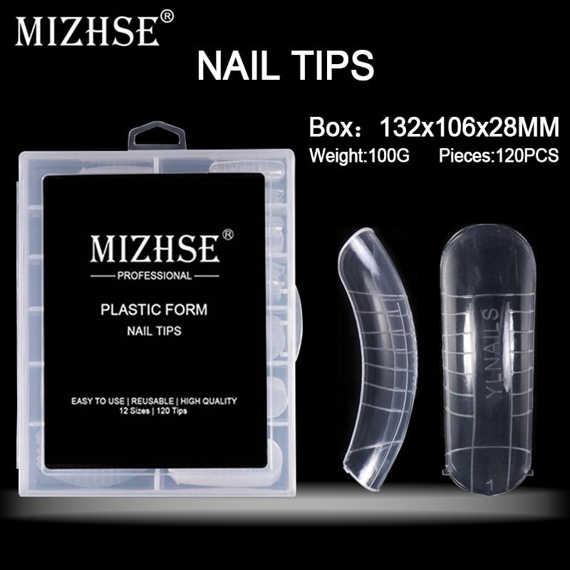 MIZHSE, 120 Uds., 12 tamaños, Gel de uñas postizas transparentes y rápidas, molde para uñas, extensión de dedos, arte de uñas, herramienta de Gel acrílico para construcción UV