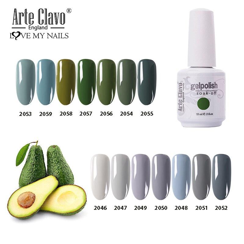 Arte Clavo 15ml UV Gel Polishl Grün Farbe Permanent UV Led Nagel Gel Tränken Weg Von Hybrid Nägel Lack nail art Gel Lack