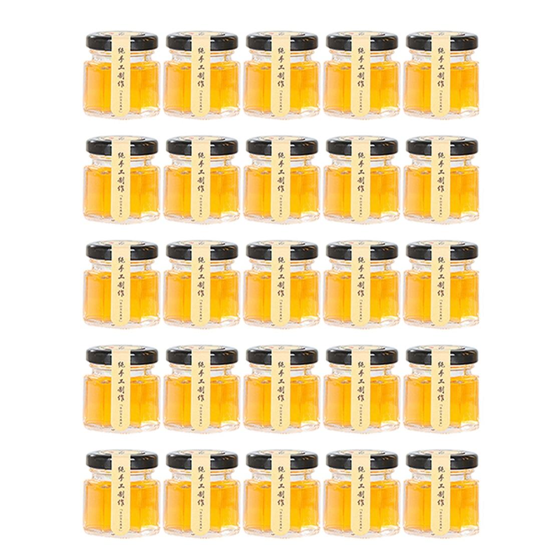 Drop ship 25Pcs/SET 5.1 x 4.8cm 45ml Hexagon Glass Bottle Jar Spice Jar Crafts Canning Jar for Jam Honey Jelly - Transparent