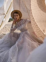 gy new bohemian wedding dress with long sleeves a line vintage open back lace beaded tulle bridal gowns robe de mariee
