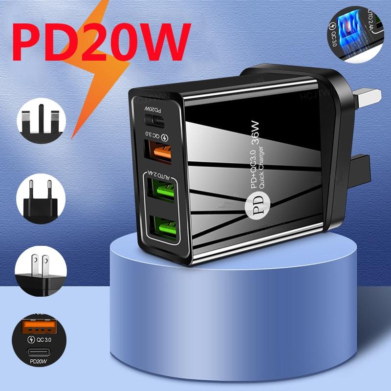 Cargador Tipo C Pd 20W 3Usb, Cargador LED Tipo Carga rápida Lightnig,...